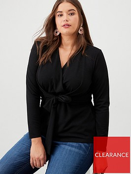 v-by-very-curve-knot-detail-crepe-top-black