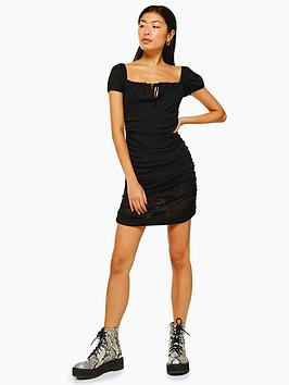 topshop-mesh-bardot-ruch-dress-black