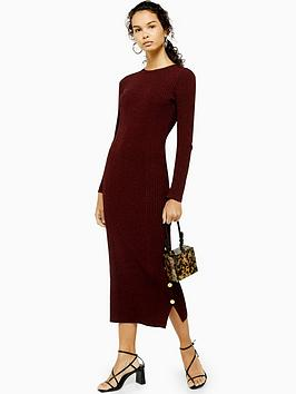 topshop-topshop-popper-side-knitted-dress-red