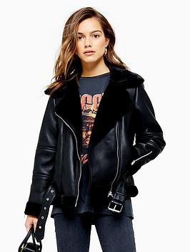 topshop-topshop-petite-cora-faux-fur-pu-biker-jacket-black