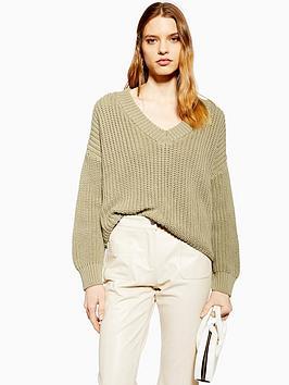topshop-v-neck-boxy-fit-knitted-jumper-olive