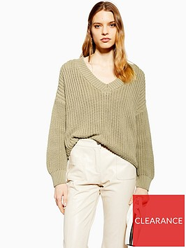 topshop-v-neck-boxy-fit-knitted-jumper-olive