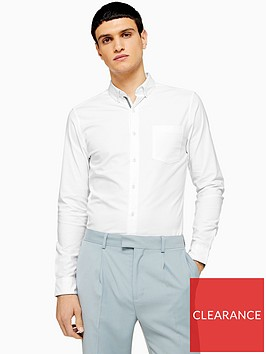 topman-topman-long-sleeve-stretch-oxford-shirt-white