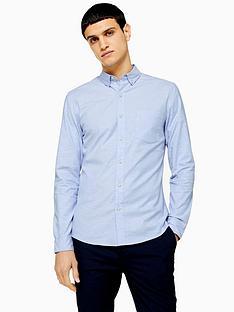 topman-topman-long-sleeve-stretch-oxford-shirt-blue
