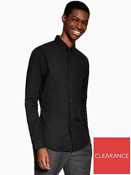topman-topman-long-sleeve-stretch-oxford-shirt-black