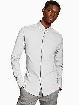 topman-topman-long-sleeve-stretch-oxford-shirt-grey