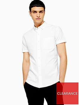 topman-topman-short-sleeve-stretch-oxford-shirt-white