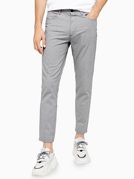 topman-topman-check-skinny-fit-trousers-grey
