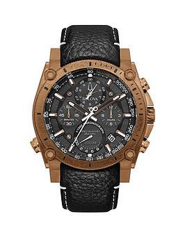 bulova-bulova-precisionist-black-chronograph-and-bronze-plated-bezel-dial-black-leather-strap-mens-watch