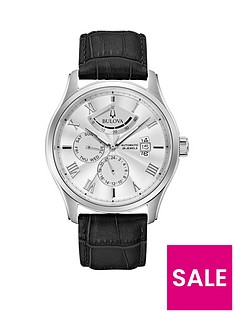 bulova-bulova-wilton-white-sunray-and-silver-detail-day-date-dial-black-leather-strap-mens-watch