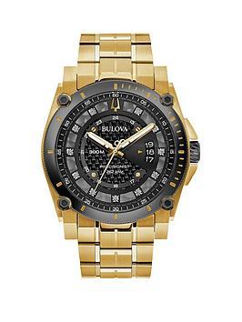 bulova-bulova-precisionist-gunmetal-grey-and-diamond-dial-gold-ip-stainless-steel-bracelet-mens-watch