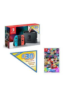 Nintendo Switch Neon With £30 Eshop Credit & Mario Kart 8 Deluxe Bundle