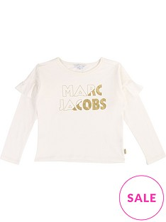 little-marc-jacobs-girls-long-sleeve-frill-gold-foil-top-off-white