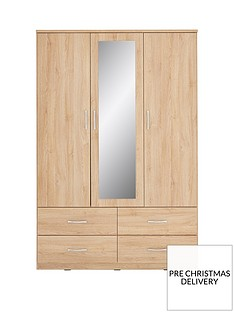 Peru 3 Door 4 Drawer Mirrored Wardrobe
