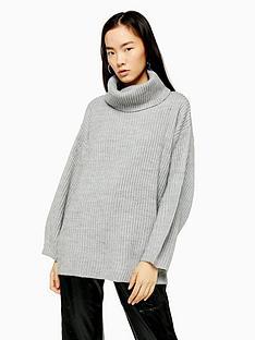 topshop-wool-mix-roll-neck-jumper-grey-marl
