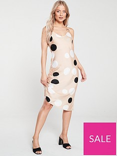 river-island-river-island-spot-ruched-side-slip-dress-stone