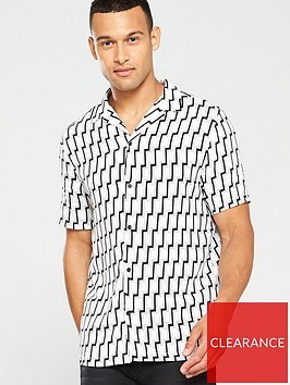 river-island-black-slim-fit-geo-print-short-sleeve-shirt