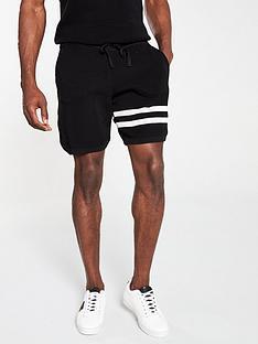 river-island-black-waffle-slim-fit-stripe-shorts