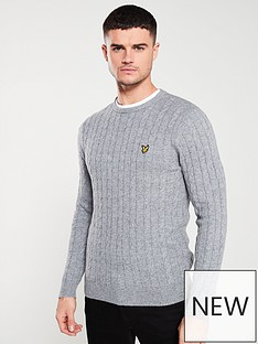 lyle-scott-cable-jumper-mid-grey-marl