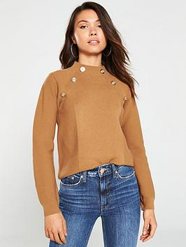 river-island-river-island-button-detail-turtle-neck-jumper-toffee