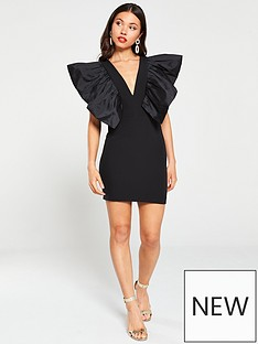 river-island-river-island-limited-edition-taffeta-puff-sleeve-mini-dress-black