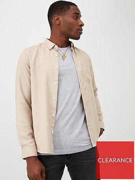 river-island-stone-slim-fit-long-sleeve-textured-shirt