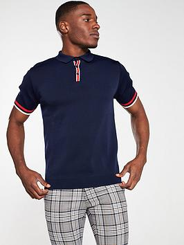 river-island-navy-slim-fit-knitted-polo-shirt