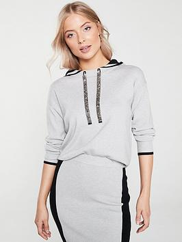 river-island-river-island-embellished-drawstring-contrast-colour-hoody-grey