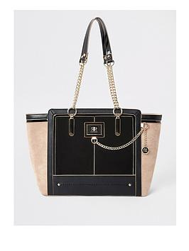 river-island-river-island-contrast-colour-winged-tote-black