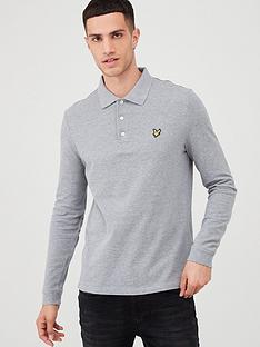 lyle-scott-long-sleeved-plain-polo-shirt-light-grey