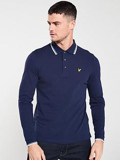 lyle-scott-lon-sleeved-tipped-polo-shirt-navy