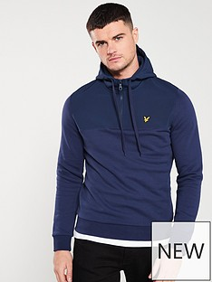 lyle-scott-softshell-jersey-quarter-zip-hoodie-navy
