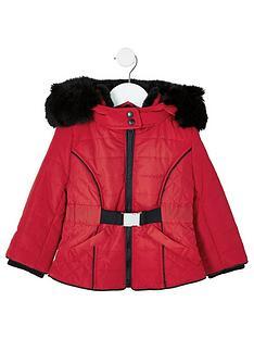 river-island-mini-mini-girls-faux-fur-hooded-padded-coat-red