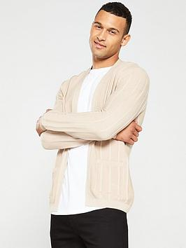 river-island-stone-slim-fit-ribbed-knit-cardigan
