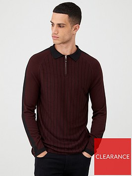 river-island-purple-pinstripe-half-zip-knitted-polo-shirt