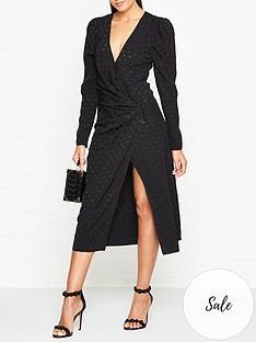 vestire-age-of-innocence-jacquard-polka-dot-wrap-dress-black