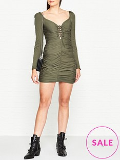 vestire-point-break-ruched-mini-dress-khaki
