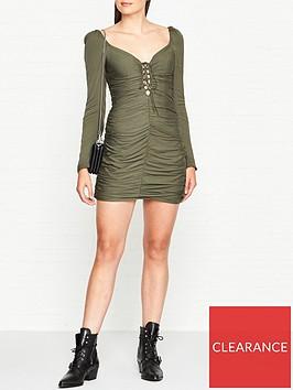 vestire-point-break-ruched-mini-dress-khaki