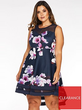 quiz-curve-curve-floral-dip-hem-mesh-dress-navy