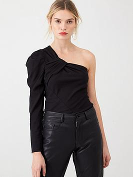 v-by-very-pleated-one-shoulder-top-black