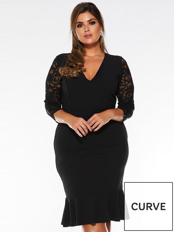 Curve V Neck Lace Three Quarter Sleeve Frill Midi Dress Black