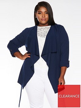 quiz-curve-curve-waterfall-belted-jacket-navy