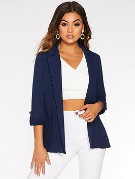 quiz-crepe-three-quarter-sleeve-jacket-navy