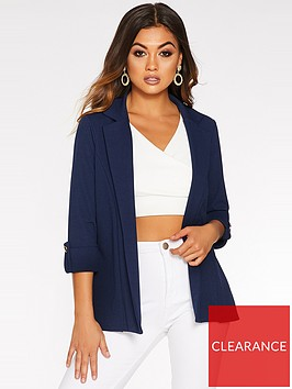 quiz-crepe-three-quarter-sleeve-jacket-navy