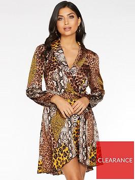 quiz-satin-animal-wrap-dress-with-frill-hem-and-tie-belt-brownmustard