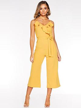 quiz-scuba-crepe-frill-front-jumpsuit-mustard