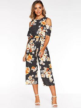 quiz-floral-cold-shouldernbspculotte-jumpsuit-black