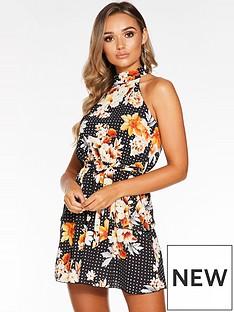 quiz-floral-halter-neck-dress-black