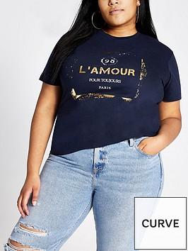 ri-plus-ri-plus-lamour-foil-print-t-shirt-navy