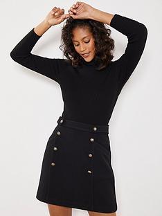 mint-velvet-military-style-a-line-mini-skirt-black
